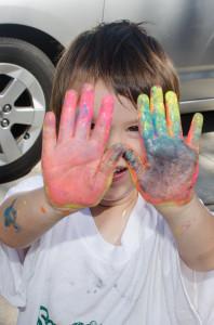 Jonathan's painty hands